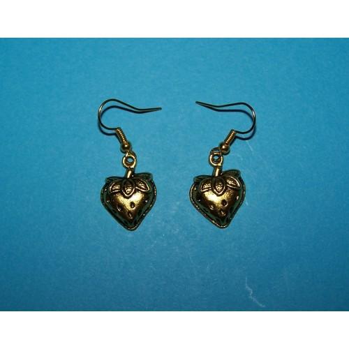 Aardbei hart oorbellen - goudkleurig