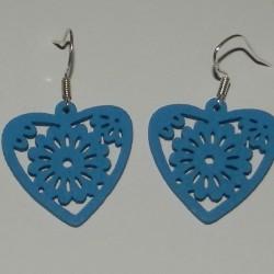 Houten hart oorbellen - blauw