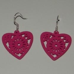 Houten hart oorbellen - diep roze