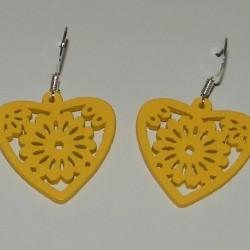 Houten hart oorbellen, geel