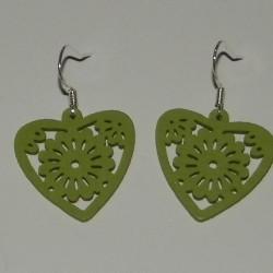 Houten hart oorbellen, groen