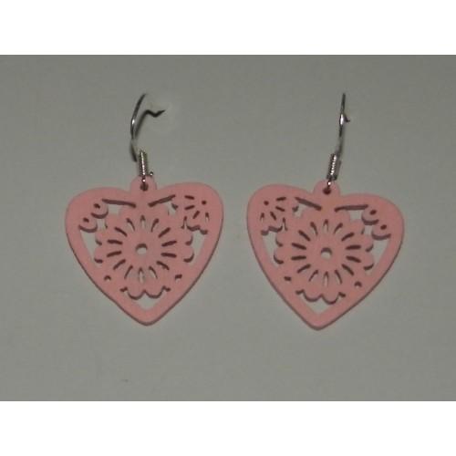 Houten hart oorbellen, licht roze