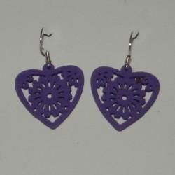 Houten hart oorbellen, paars