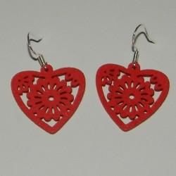 Houten hart oorbellen, rood