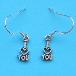 """""""I love you"""" oorbellen, Tibet zilver, model B"""
