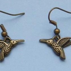 Kolibri oorbellen, brons
