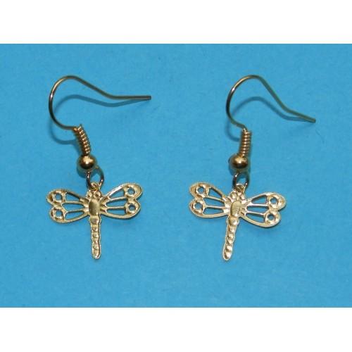 Libelle oorbellen, goudkleurig