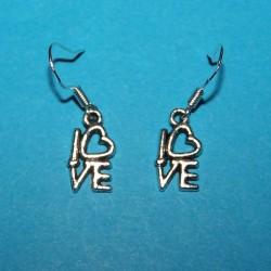 """""""Love"""" oorbellen, Tibet zilver"""