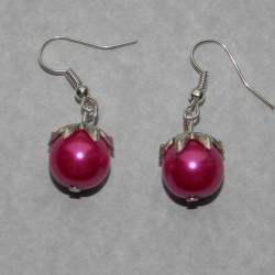 Parel oorbellen, fuchsia, 12mm