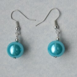 IJsblauwe parel oorbellen, 12mm