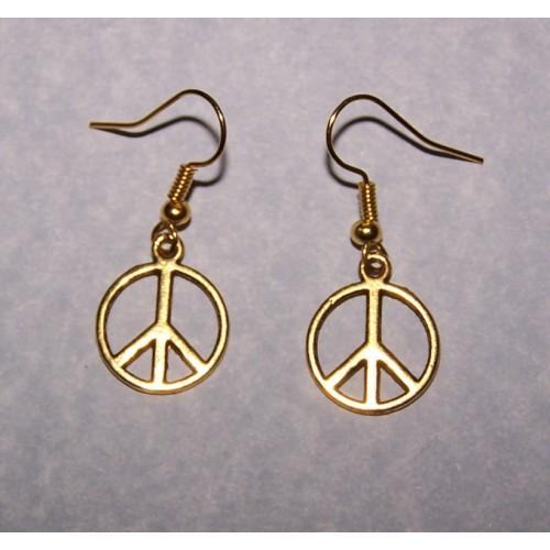 Peace oorbellen, goudkleurig