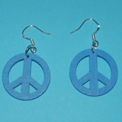 """Blauwe houten """"Peace"""" oorbellen"""