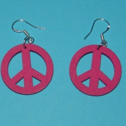 "Cyclaam houten ""Peace"" oorbellen"