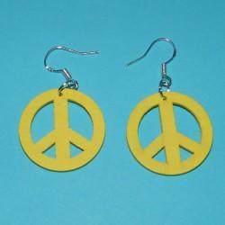 "Gele houten ""Peace"" oorbellen"