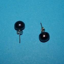 Donkerblauwe parel oorstekers, 8mm