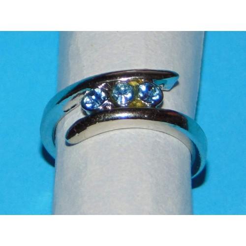 Zilveren ring met blauwe Swarovski - model BB - maat 19