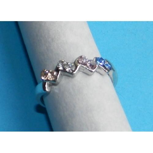 Fleurige zilveren ring met Swarovski, model BA, maat 18