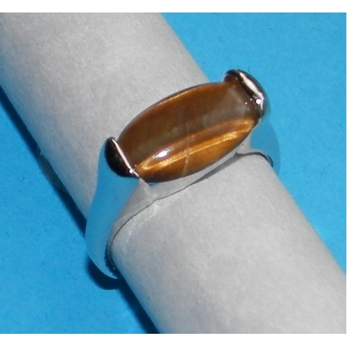 Zilveren ring met Tijgeroog - model A - maat 16
