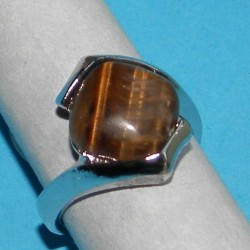 Zilveren ring met Tijgeroog, model G, maat 18