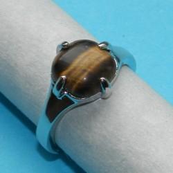 Zilveren ring met Tijgeroog, model P, maat 18