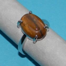 Zilveren ring met Tijgeroog, model Q, maat 17