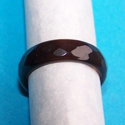 Gefacetteerde bruine Agaat ring, 5mm breed, maat 18,5