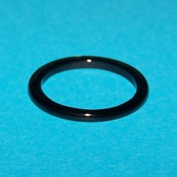 Zwarte Agaat ring, 2mm breed, maat 17