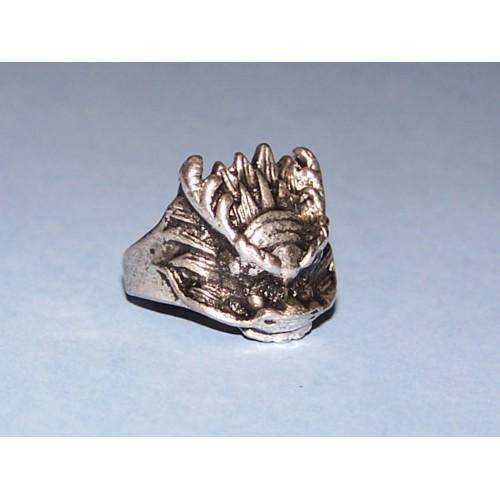 Draak ring, Tibet zilver, model G, maat 19