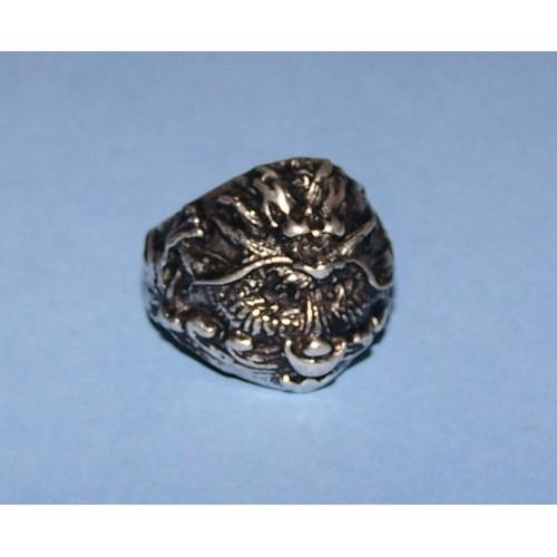 Draak ring, Tibet zilver, model J, maat 18,5