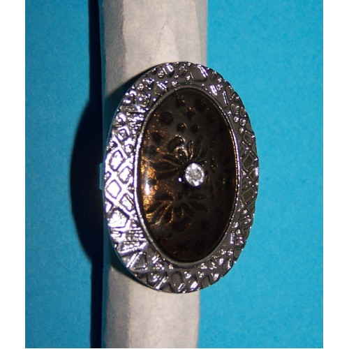 Brede zilveren en bruine emaille ring, model B, verstelbaar