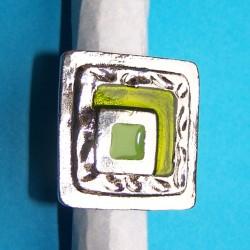 Brede zilveren en groene emaille ring, model A, verstelbaar