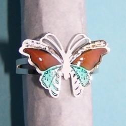 Vlinder stemming of mood ring, zilver en blauw, verstelbaar