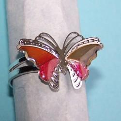 Vlinder stemming of mood ring, zilver en rood, verstelbaar