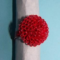 Rode paardenbloem ring, verstelbaar