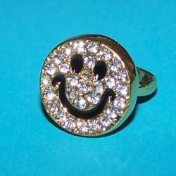 Goudkleurige smiley ring met stras, verstelbaar