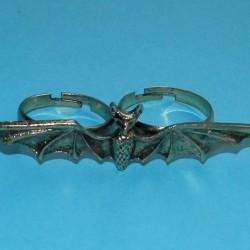 Vleermuis ring voor twee vingers, goudkleurig