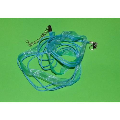 Lichtblauw organza voile halskoord, met klauwslotje