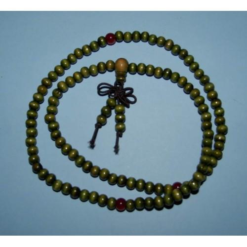 Groene houten mala of gebedsketting, 6mm kralen