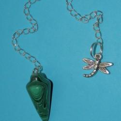 Malachiet pendel met libelle hanger