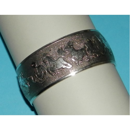 Brede zilveren armband met Oosterse dierenriem