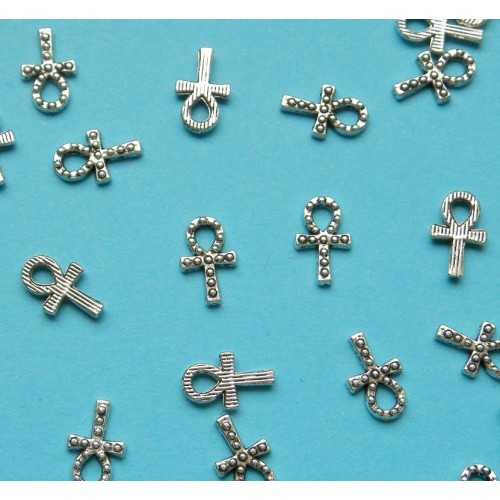 Ankh of Egyptisch kruis bangle, Tibet zilver - 10 stuks