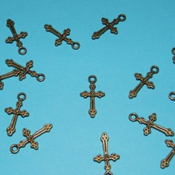 Crucifix bangle, brons, model B - 10 stuks