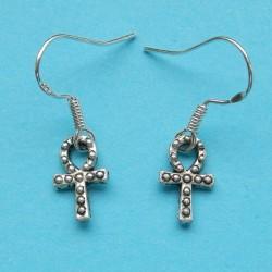 Ankh of Egyptisch kruis oorbellen, Tibet zilver