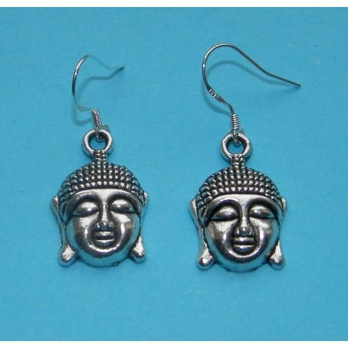 Boeddha hoofd oorbellen - Tibet zilver - model A