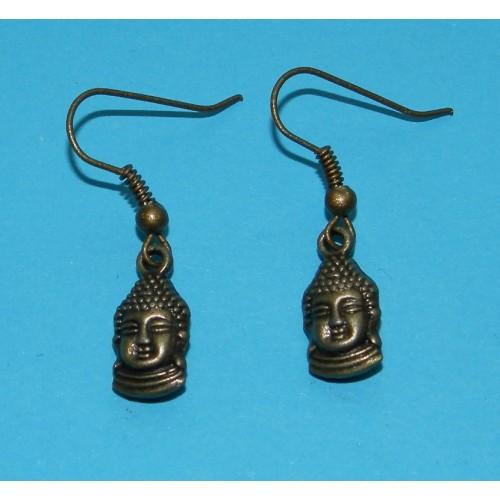 Boeddha hoofd oorbellen, brons