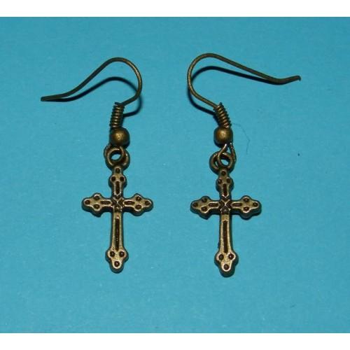 Crucifix oorbellen - brons - model B