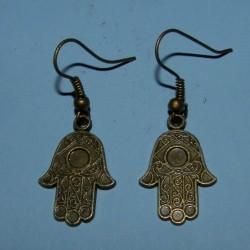 Hand van Fatima oorbellen, brons, model B