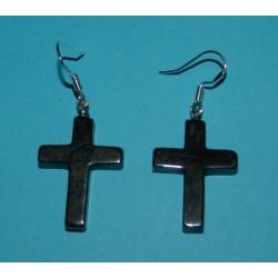 Kruisje oorbellen, Hematiet, model B