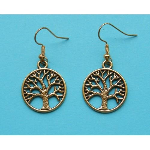 Levensboom oorbellen, goud