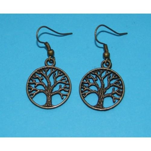 Levensboom oorbellen, brons